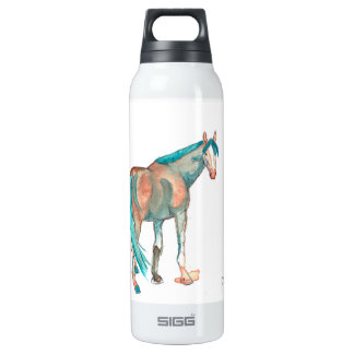 Black and White Damask Horse 16 Oz Insulated SIGG Thermos Water Bottle