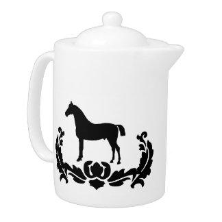 Black and White Damask Horse Teapot