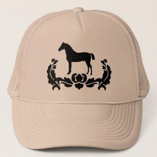 Black and White Damask Horse Trucker Hat
