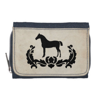 Black and White Damask Horse Wallets