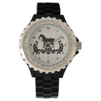 Black and White Damask Horse Wristwatch