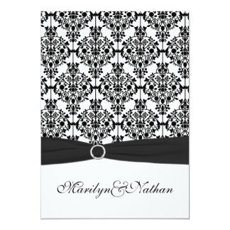 Black and White Damask II Wedding Invitation