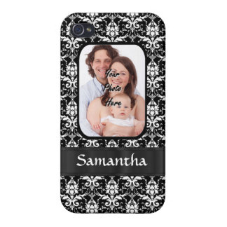Black and white damask iPhone 4/4S case