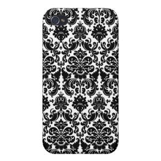 Black and White Damask  iPhone 4 Case