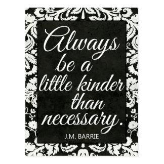 Black and White Damask Kindness Postcard