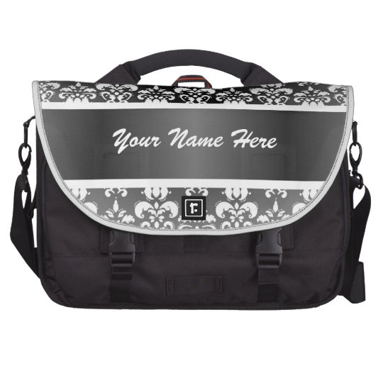 Black and white damask laptop computer bag