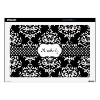 Black and White Damask Laptop Skin