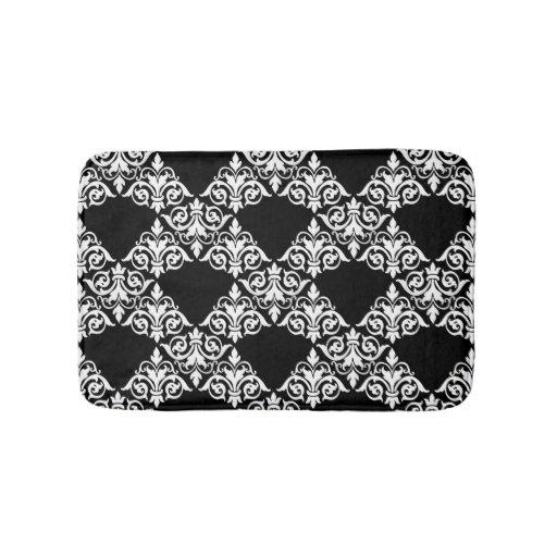 Black and white damask lattice bathmat bath mats zazzle for Black and white damask bath mat