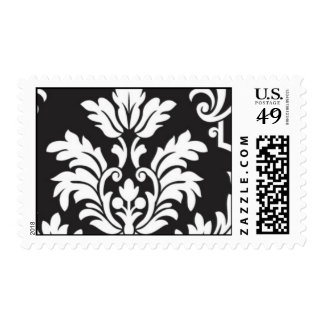 Black and White damask left Postage