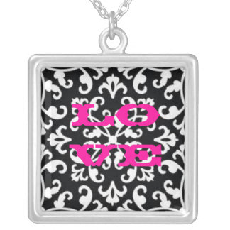 Black and White Damask Love Necklace