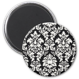 Black and White Damask Magnet