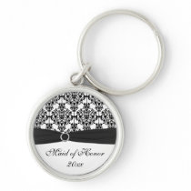 Black and White Damask Maid of Honor Keychain