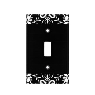 Black and White Damask Matching Kitchen Light Switch Cover