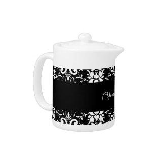 Black and White Damask Matching Kitchen Teapot