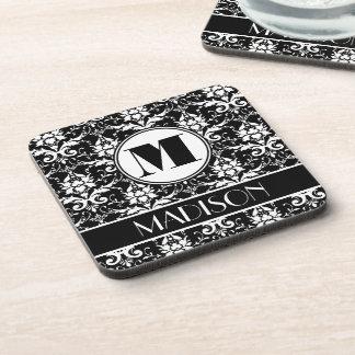 Black and White Damask Monogram Beverage Coaster