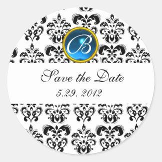 BLACK AND WHITE DAMASK MONOGRAM blue sapphire Classic Round Sticker