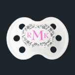 """Black and White Damask Monogram Personalized Pacif Pacifier<br><div class=""""desc"""">Click """"customize it"""" for font and text options. Coordinating items available at www.gem-ann.com (Zazzle store).</div>"""