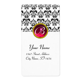 BLACK AND WHITE DAMASK MONOGRAM, Red Pink Ruby Shipping Label