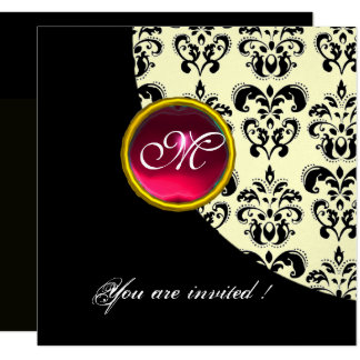BLACK AND WHITE DAMASK MONOGRAM,red ruby,silver Card