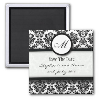 Black and White Damask Monogram Save The Date 2 Inch Square Magnet