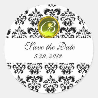 BLACK AND WHITE DAMASK MONOGRAM yellow topaz Classic Round Sticker