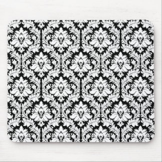 Black and white Damask Mouse Pad