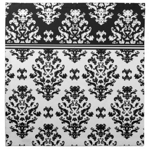 Black and White Damask Napkin