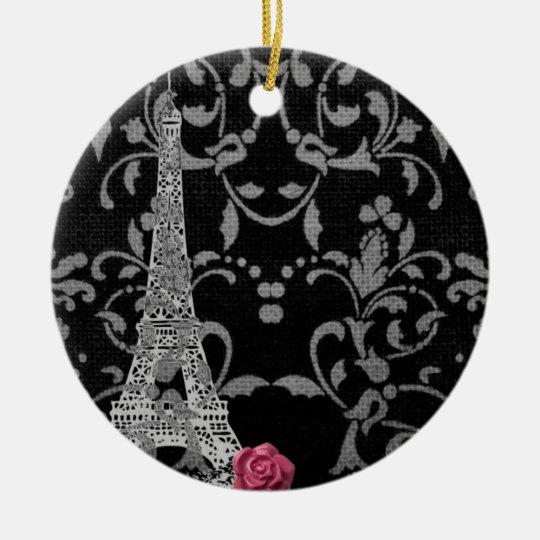 Black and White Damask Parisian Design Ceramic Ornament