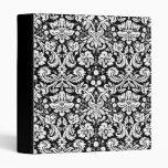 Black and white damask pattern 3 ring binder