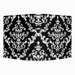 Black and White Damask Pattern 3 Ring Binders