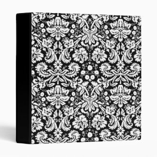 Black and white damask pattern binders