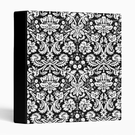 Black and white damask pattern vinyl binder