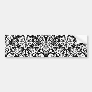 Black and white damask pattern bumper sticker