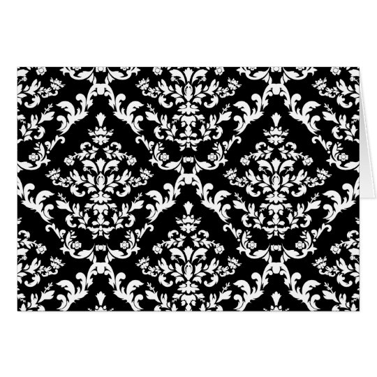 Black and White Damask Pattern Card