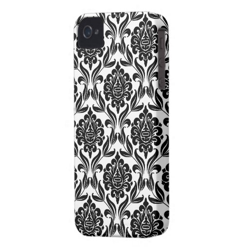 Black and White Damask Pattern Case-Mate iPhone 4 Case