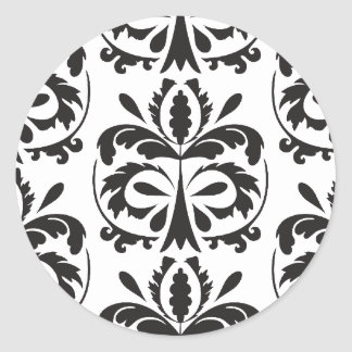 Black and White damask pattern Classic Round Sticker