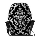 Black and White Damask Pattern Commuter Bags