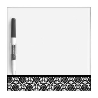 Black and White Damask Pattern Dry Erase Board