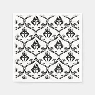 Black And White Damask Pattern Floral Napkins Disposable Napkin