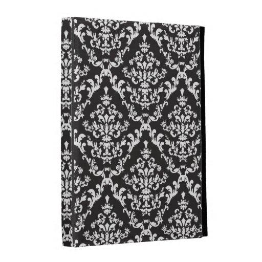 Black and White Damask Pattern iPad Folio Cover