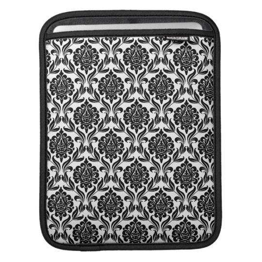 Black and White Damask Pattern iPad Sleeve