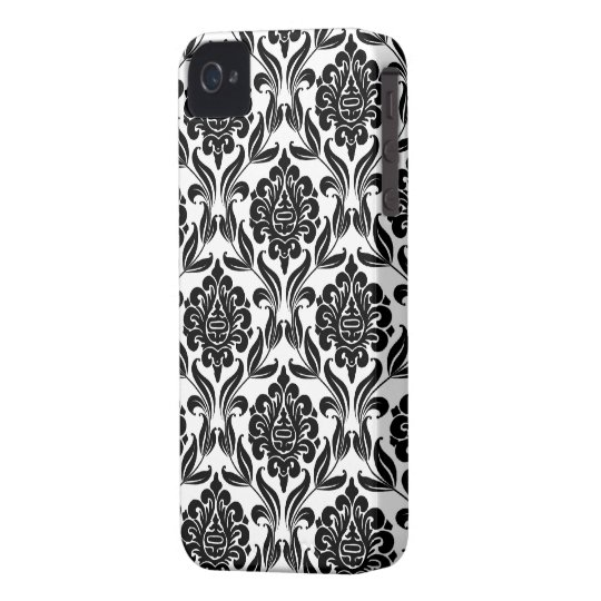Black and White Damask Pattern iPhone 4 Case-Mate Case