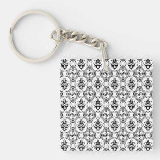 Black and White Damask Pattern Keychain
