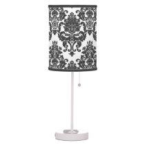 Black and White Damask Pattern Lamp