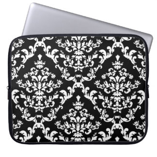 Black and White Damask Pattern Laptop Sleeve