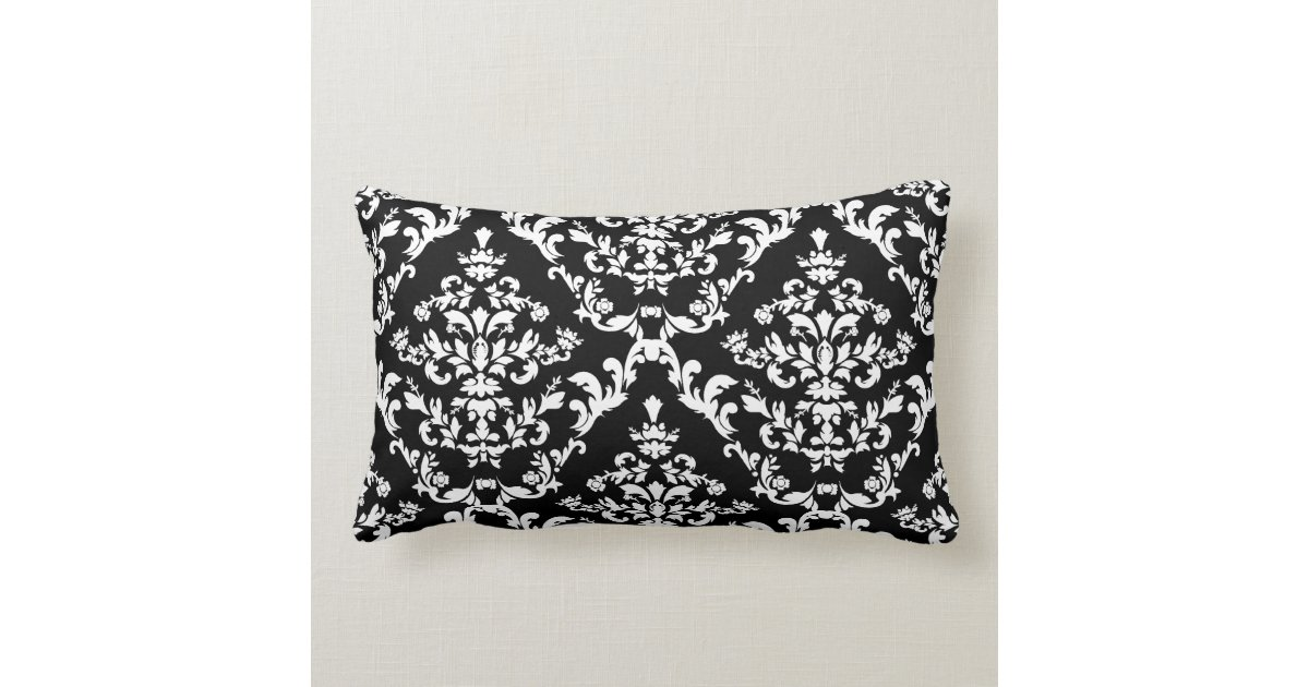 black and white damask pattern lumbar pillow zazzle. Black Bedroom Furniture Sets. Home Design Ideas