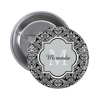Black and White Damask Pattern Monogram and Name Button