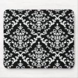 Black and White Damask Pattern Mousepad