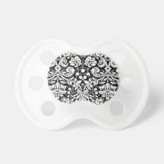 Black and white damask pattern pacifier
