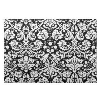 Black and white damask pattern place mat